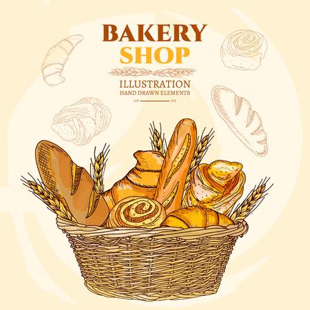 Pâtisserie. Bakery panier. Vector illustration