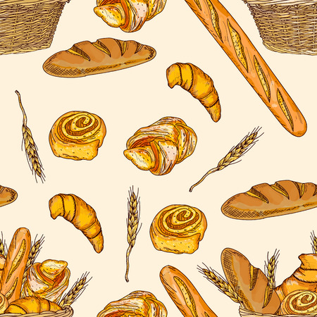 french countryside: Bakery seamless pattern hand drawn vector illustration