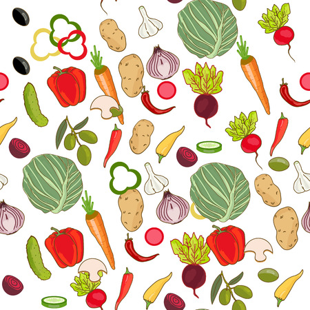 Fresh vegetables seamless pattern  イラスト・ベクター素材