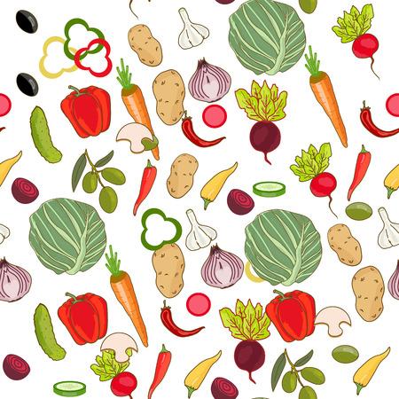 Fresh vegetables seamless pattern Çizim