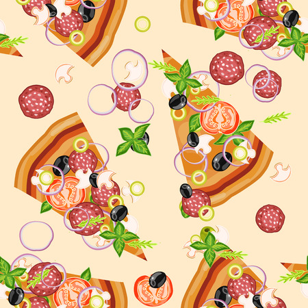 pizza ingredients: Pizza ingredients seamless pattern hand drawn vector illustration