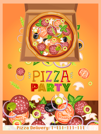 dinner party table: Pizza party template fresh ingredients for pizza design template hand drawn vector illustration