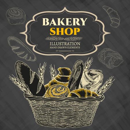 Bakery shop. Bakery basket. Blackboard. Vector illustration