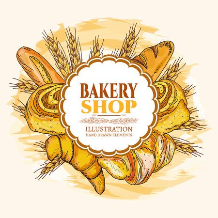 ベーカリー ショップ食品水彩画テンプレート手描きスケッチ図