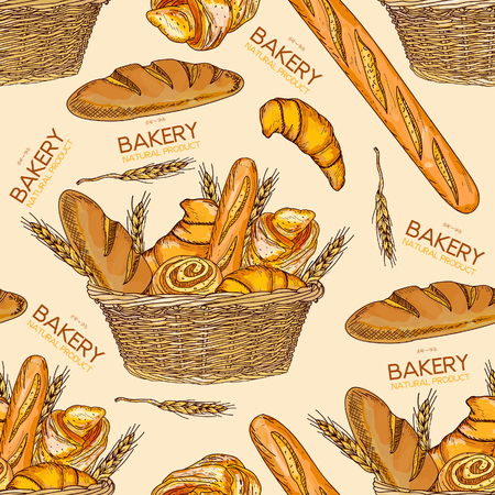 french countryside: Bakery fresh bread in a basket seamless pattern hand drawn vector illustration