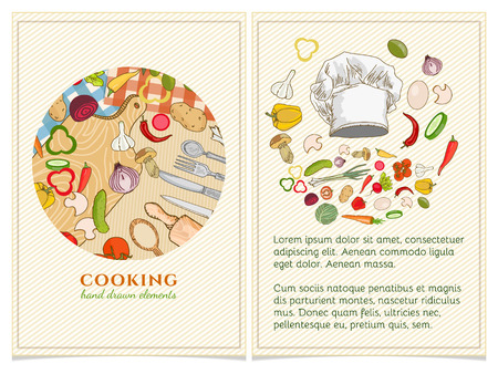 Cooking Cookbook Template Hand Drawn Elements. Vector Illustration Vector