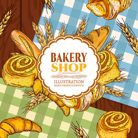 french countryside: Bakery bread on a wooden table vector illustration