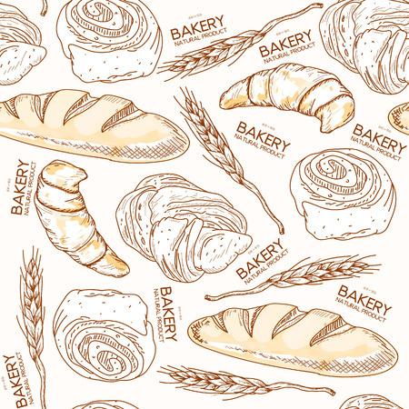 french countryside: Bakery seamless pattern fresh bread and buns ears of wheat hand drawn vector illustration Illustration