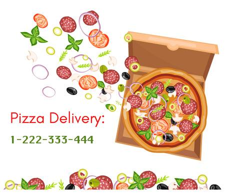 Entrega de pizza caja de pizza vista desde arriba aislado en blanco ilustración vectorial Foto de archivo - 55822578