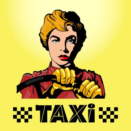 Taxi woman driving a car pop art vector illustration 矢量图像