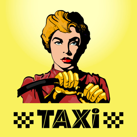 woman driving: Taxi woman driving a car pop art vector illustration Illustration