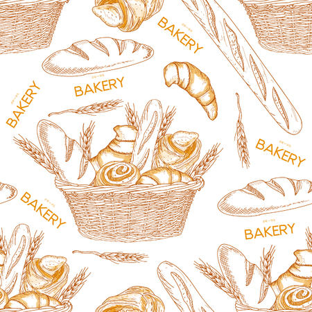 シームレス パターンのバスケット手描きでパン屋さんのパン