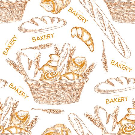 Bakery bread in a basket seamless pattern hand drawn