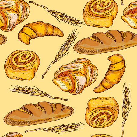french countryside: Bakery seamless pattern