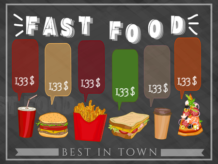 chiken: Fast food menu hand drawn vector illustration