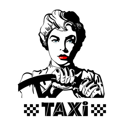 Taxi. Woman driving a car pop art style isolated on white vector illustration