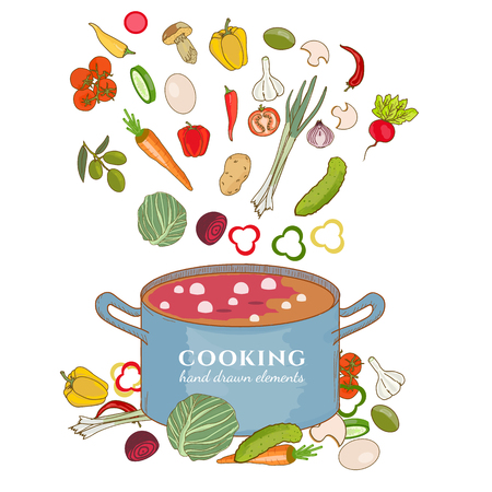 Cooking background vegetables fly in a pan hand drawn elements