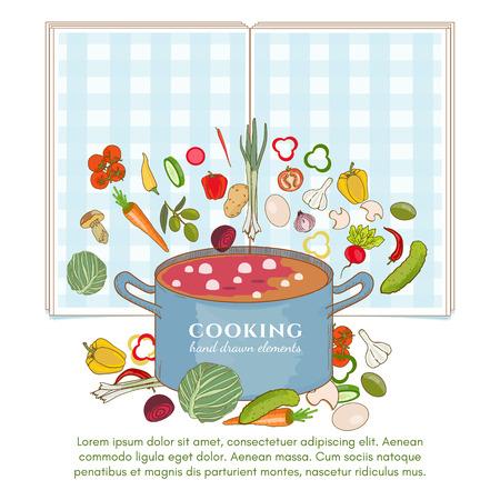 Koken achtergrond sjabloon groenten vliegen in een getekende pan kant elementen Stock Illustratie