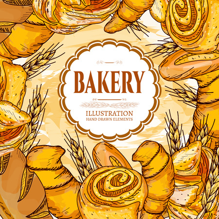 french countryside: Bakery shop template hand drawn vector