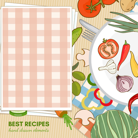 cooking book: Cooking book view from above fresh vegetables ingredientson the kitchen table hand drawn elements food template