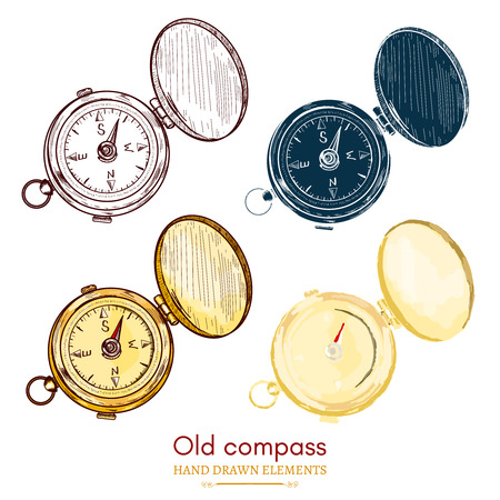old compass: Old compass vintage compass collection hand drawn vector