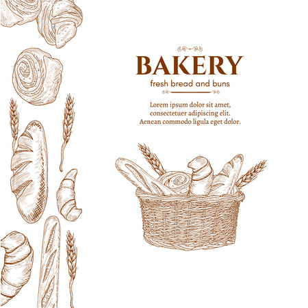 Bakery products basket with bread fresh bread rolls hand drawn vector template