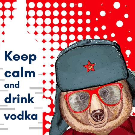 keep in: Bear in hat, keep calm and drink vodka poster, alcohol poster vector Illustration