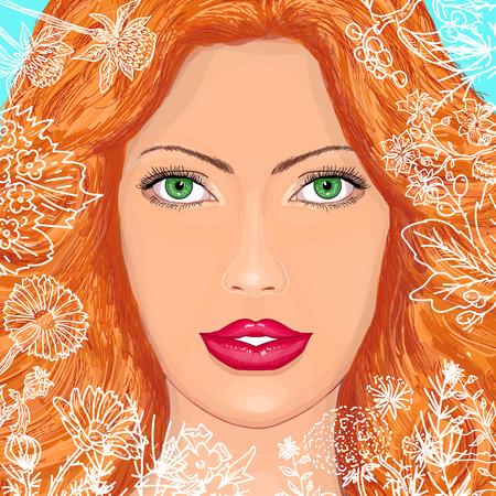 beatiful: Portrait of a beautiful woman in flowers vector