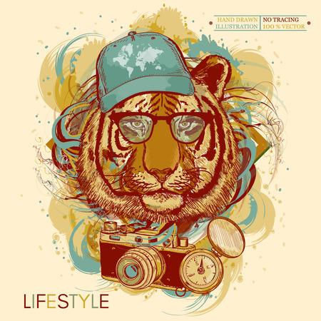 hand print: Tiger hipster hand drawn animal art print Illustration