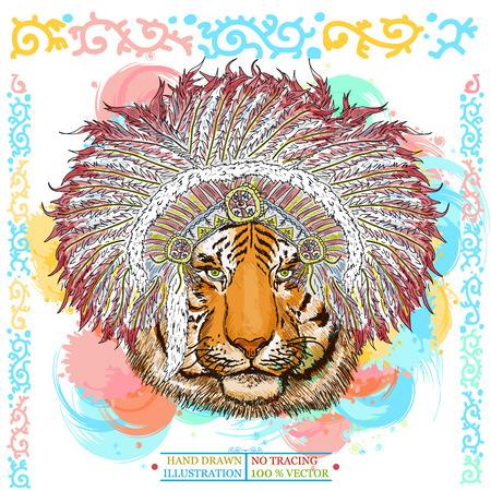 Tiger portrait native american hand drawn animal vector illustration