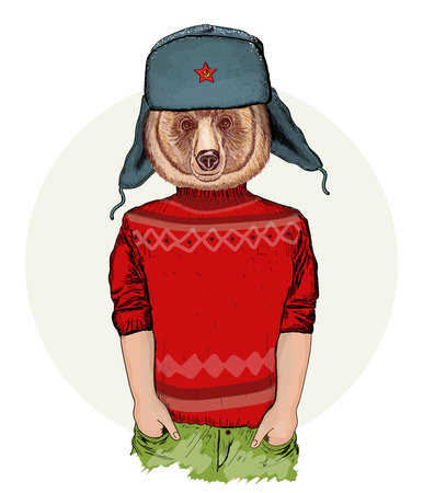 cool guy: Hipster animals, portrait of fashion bear, fashion illustration