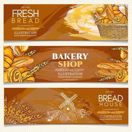 bread rolls: Bakery banner, bakery shop, bakery basket, fresh bread rolls and loaves hand drawn vector illustration