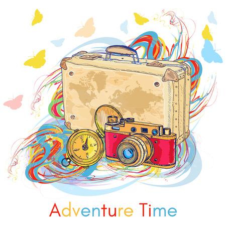tiempo de aventura cámara vieja brújula de edad maleta vieja ilustración vectorial dibujado a mano Ilustración de vector
