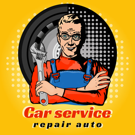 auto service: Car service repair auto pop art vector
