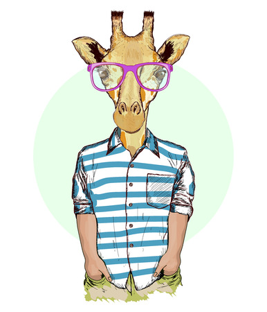 Hipster animals, portrait of fashion giraffe, fashion illustration Vettoriali