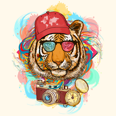 Tiger hipster art print hand drawn animal illustration
