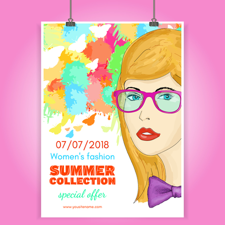 Fashion poster beautiful girl collection clothes fashionable woman vector illustration Illustration