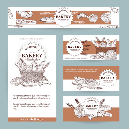 bussiness card: Bakery shop, bread basket signage template hand drawn vector illustration
