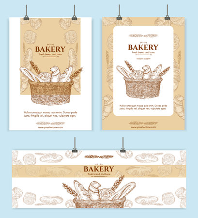 Bakery shop, bread basket signage template hand drawn vector illustration