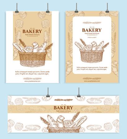 Bakery shop, bread basket signage template hand drawn vector illustration
