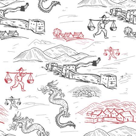 China seamless pattern hand drawn vector