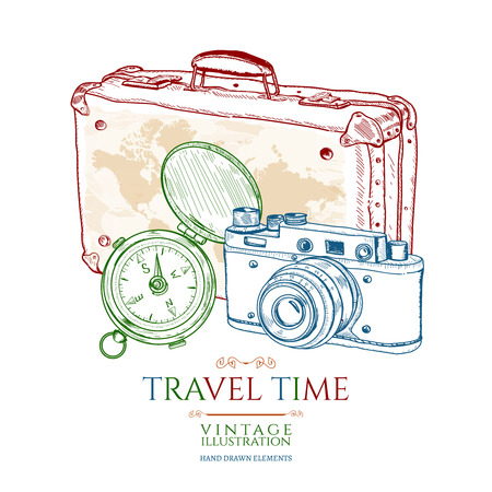 old suitcase: Travel old compass old suitcase old camera hand drawn vector illustration