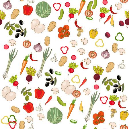 peper: Fresh vegetables seamless pattern Illustration