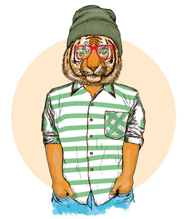 Hipster animals, portrait of fashion tiger, fashion hand drawn vector illustration