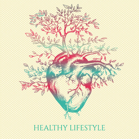 Anatomical human heart from which the tree grows symbol of life and health healthy lifestyle medical hand drawn vector illustration
