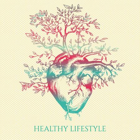 c?ur humain Anatomical à partir de laquelle l'arbre pousse symbole de la vie et de la santé en bonne santé main médicale mode de vie dessinée illustration vectorielle