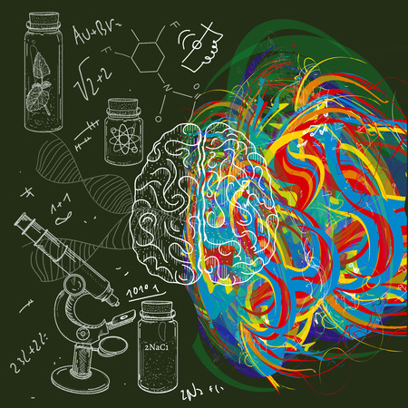 analytical: Brain left analytical and right creative hemispheres hand drawn illustration