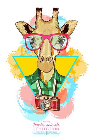 Portrait of fashion giraffe, hipster animals hand drawn vector illustration