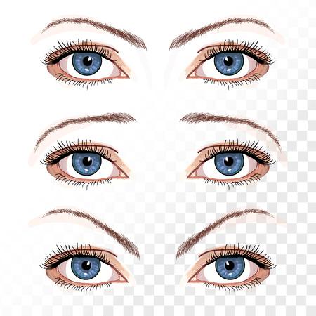 female eyes: Vector female eyes isolated on white hand drawn illustration Illustration