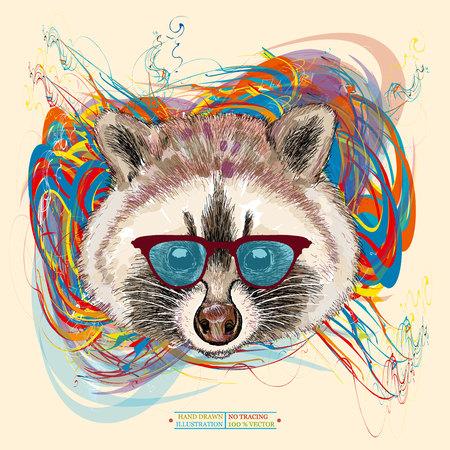 Raccoon hipster realistisch portret hand getekende dieren illustratie